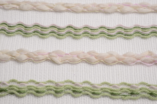 Knitted on a domestic knitting machine: Cotton, organza