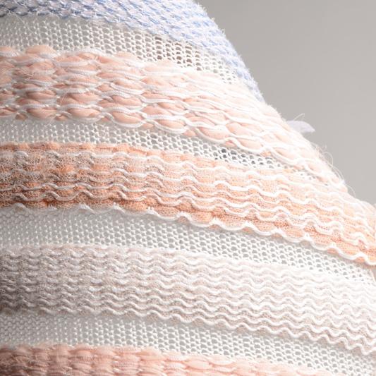 Knitted on a domestic knitting machine: Cotton, silk, netting, tactel nylon