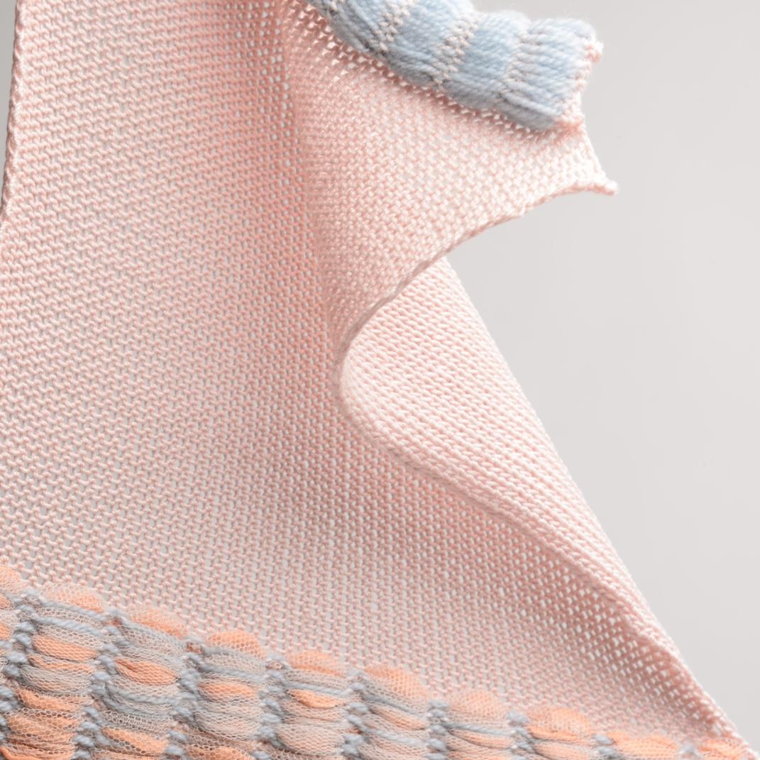 Knitted on a domestic knitting machine: Dyed Cotton, Organza, Wool, Netting