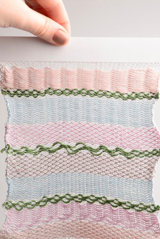 Knitted on a domestic knitting machine: tactel nylon, cotton, fine wool